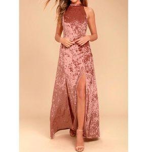 Lulu's Sway My Options Pink Velvet Maxi Dress